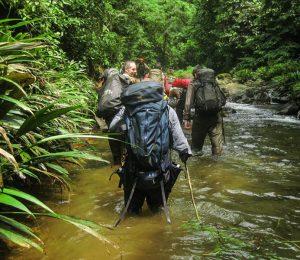 Trekking through rivers in the Darien Gap, Panama