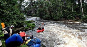 Packrafting down the Iviendo river, Gabon