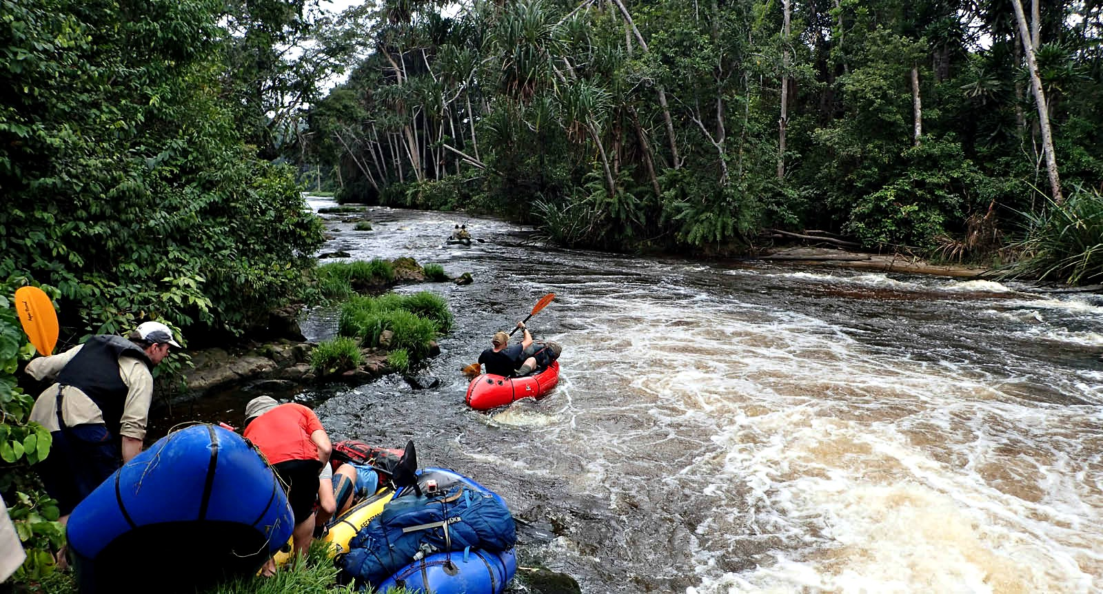 Packrafting down the Iviendo river, Gabon