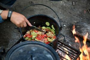 Cooking over a campfire in Argentina