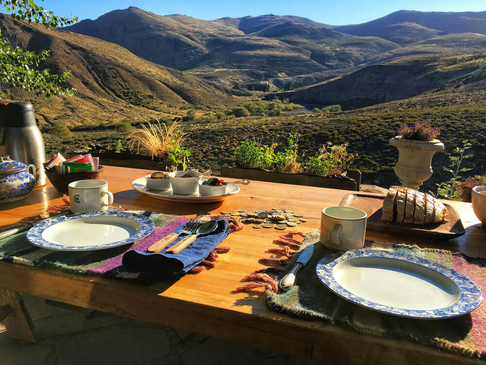 Meal overlooking the hills in Patagonia, Argentina
