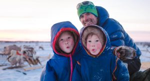 2 Nenent girls with expedition leader in Siberia