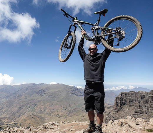 Expedition teammate Ross Hemingway with his MTB mountain bike, Ras Deshan, Simien Mountains, Ethiopia