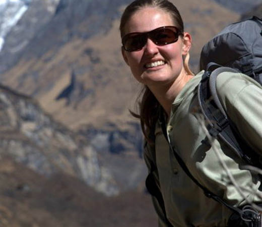 Expedition leader Becky Coles in the mountains, Afghanistan's Wakhan Corridor adventure.