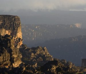Dusk view of mountains in Venezuela on expedition to abseil Angel Falls world's highest waterfalls