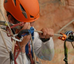 Abseiler holding ropes, Venezuela expedition to Abseil Angel Falls world's highest waterfalls2