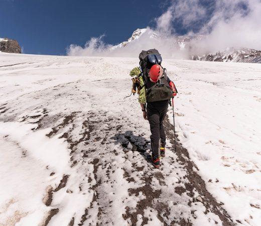 Trekking on the upper slopes of Mount Kazbek