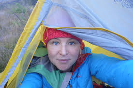 Anna McNuff, adventure explorer as she resides in a tent