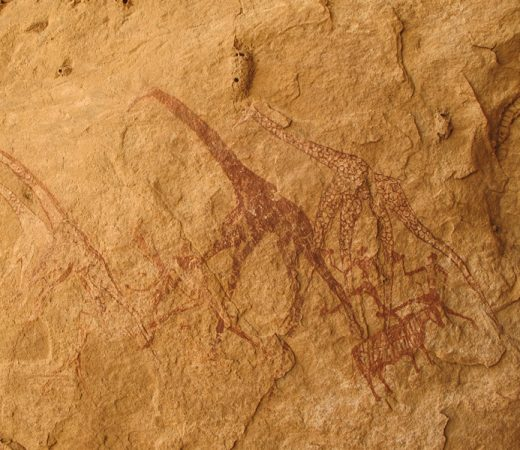 Ancient drawings found in caves on the Tibesti Plateau, Chad