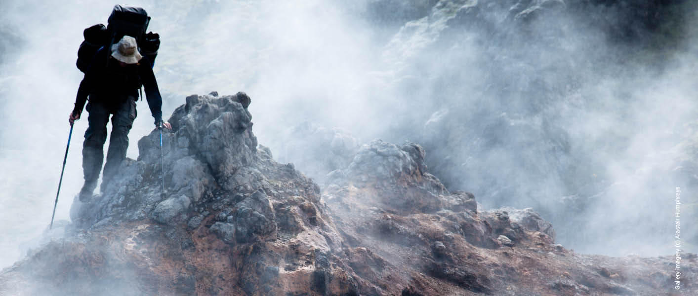 The mist lays low as secret compass member hikes in Iceland on the Lagavegur trail