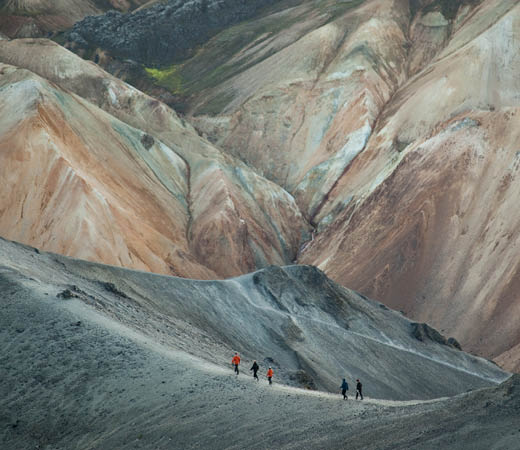 Trekkers of the Secret Compass team hike in Iceland on the Laugavegur Trail