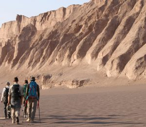 Iran Lut Desert Sand dunes and people