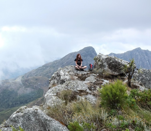 Girl on mountain top near Mulanje in Malawi with the AMECA expedition through Secret Compass2