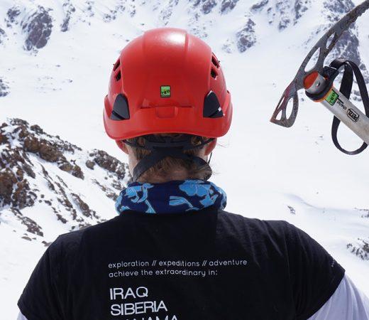 Georgia, mountain climbing expedition. Member with ice axe