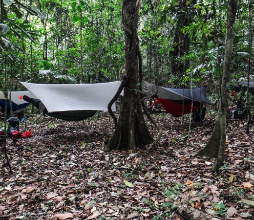 Using the hammock tents as accommodation during the Darien Gap expedition