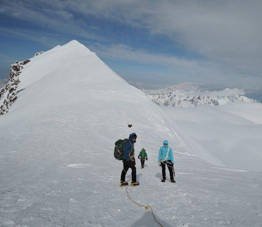 Trekking with ropes on Georgia's Mount Kazbek
