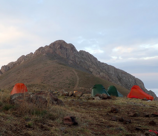 Armenia expedition image, tents on mountainside at basecamp