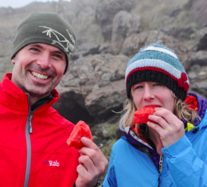 Armenia expedition teammates enjoying a snack at height