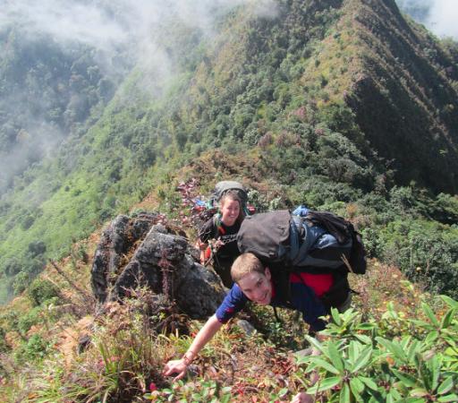 Burma Saramati Expedition Imogen and teammates on the ridge line trek