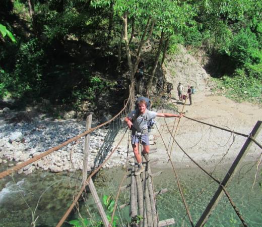 Burma Saramati Expedition rope bridge crossing