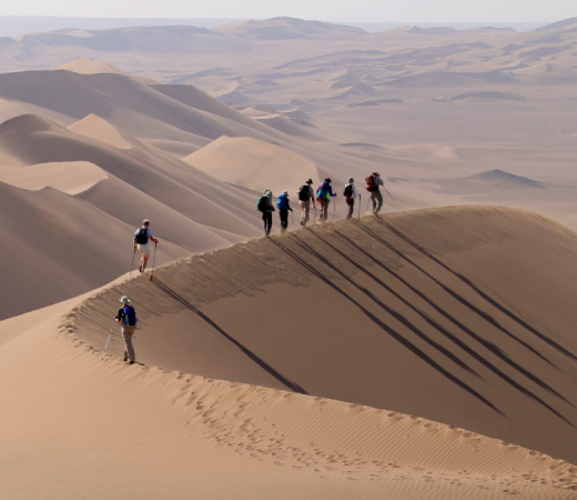 Trekking across the high dunes of the Lut desert, Iran