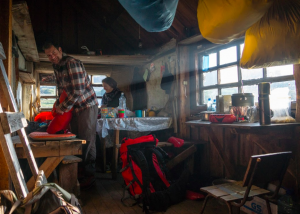 Inside a volcanology hut, Kamchatka