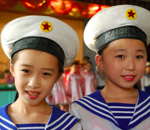 Visiting the local children in North Koreans capital, Pyongyang