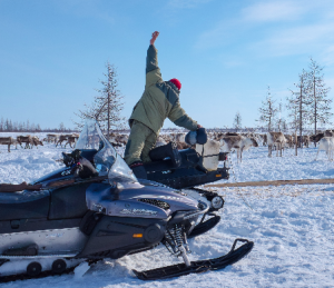 The use of a skidoo for the Reindeer migration