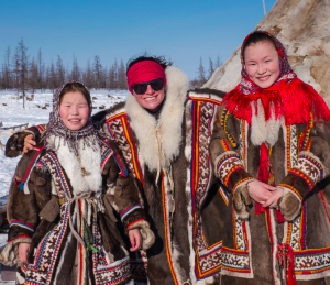 Team members socialising with the Nenets people