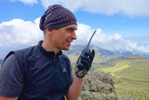 Ethiopia expedition member using a GPS radio