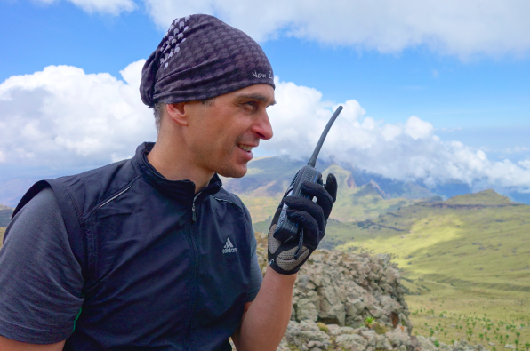 Ethiopia expedition member using a GPS radio