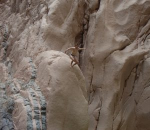 Rock jumping into the Oasis in the Sinai desert