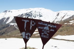Mine Fields warning signs on the Zagros moutains