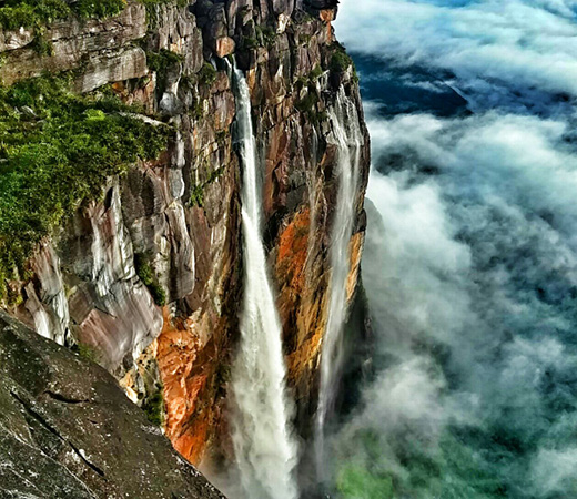 Venezuela Angel Falls world's highest waterfalls clouds below