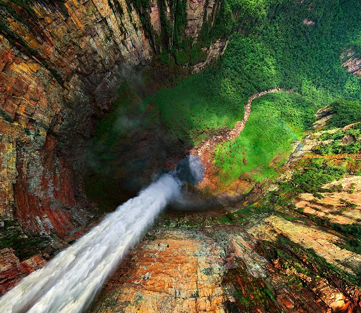 Venezuela Abseil Angel Falls world's highest waterfalls long drop to grass