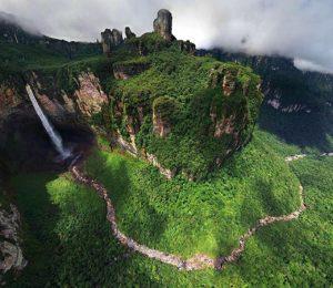 Venezuela Abseil Angel Falls world's highest waterfalls seen from a distance