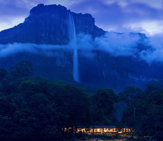 Venezuela Abseil Angel Falls world's highest waterfalls seen at night with lodge