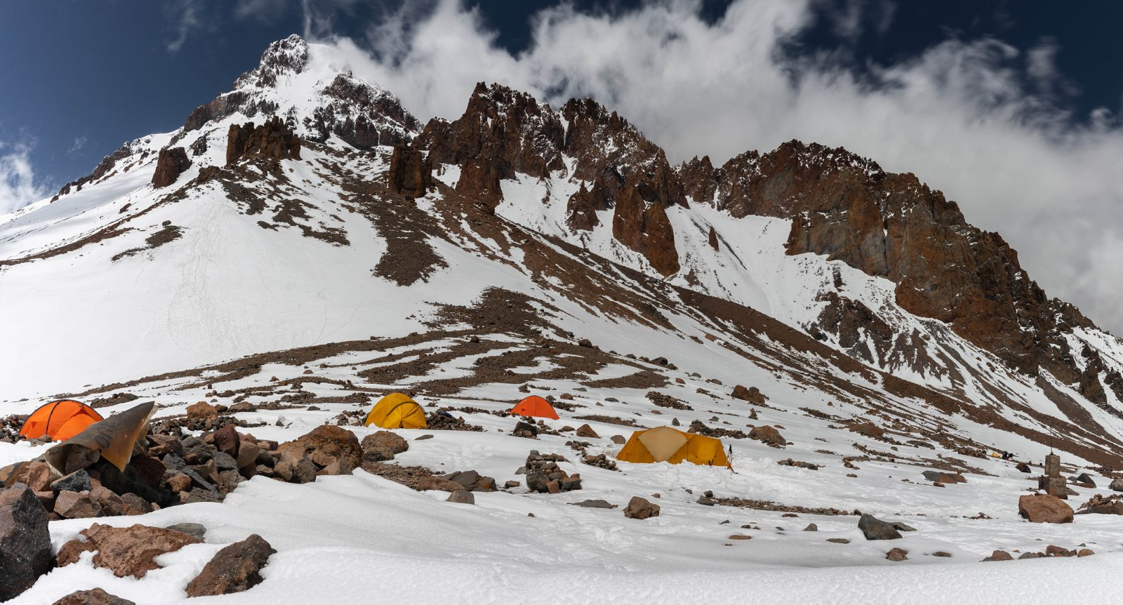 Advanced Basecamp on Georgia's Mount Kazbek in the Greater Caucasus Mountains