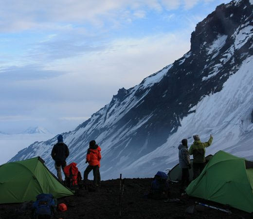 base camp for a morning summit of one of Kamchatka's many active volcanoes