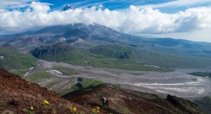 A gruelling steep trek up the face of one of the many active volcanoes in the Russian Far East