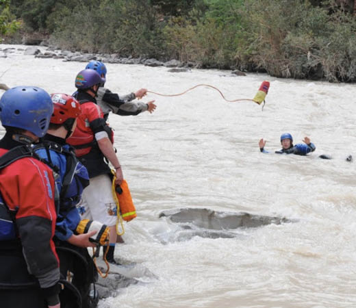 White water rafting rescue training in Papua New Guinea
