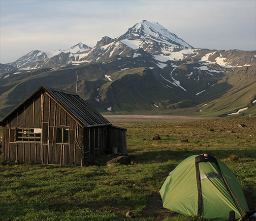 Camping besides a volcanologists hut in Kamchatka