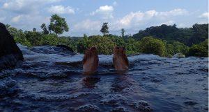 Floating down stream of the Djidji river in Gabon
