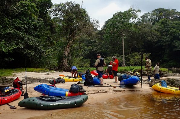 Packrafting down the Invido river, Gabon