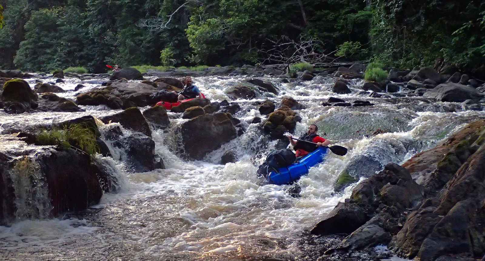 Rafting down the rapids in Gabon