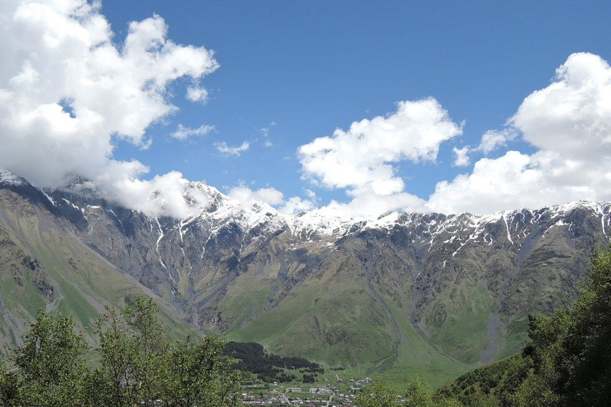 Snow line on Mt Kazbek