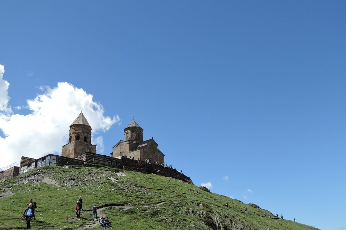Georgia, climbing up to the churches on route Mt Kazbek