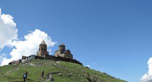 Georgia, climbing up to the churches on route Mt Kazbek