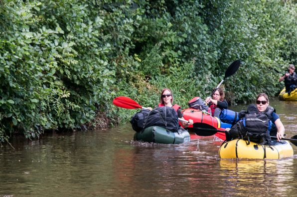 Canoeing with the Secret Compass team leading the way on the Adventure Academy trip in Wales