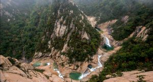 North Korean national park from high above looking down on the meandering river